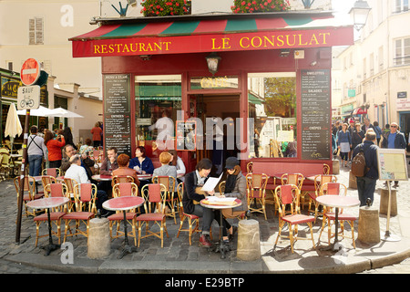Bar Restaurant in Montmartre District, Paris, France - Stock Photo