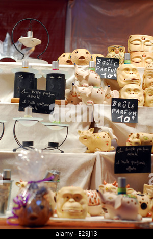 Handmade items for sale in a Colmar Christmas market stall, Alsace, France - Stock Photo