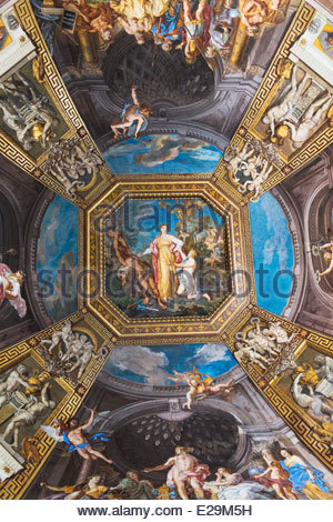 Ceiling of the Sala delle Muse showing stories of Apollo and the Muses by Tommaso Conca in Musei Vaticano, Roma, - Stock Photo