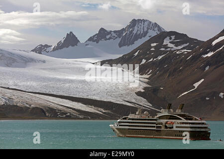 Antarctica, cruise on Boreal ship, South Georgia Island, the ship anchored in Fortuna Bay - Stock Photo