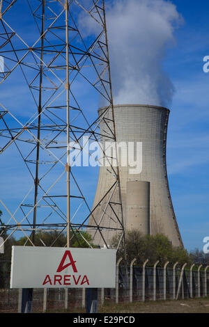 France, Drome, Tricastin industrial nuclear site, cooling tower of Eurodif uranium enrichment plant operated by - Stock Photo