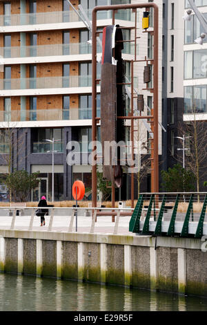 United Kingdom, Northern Ireland, Belfast, Titanic Quarter on Queen's Island, the public sculpture called Kit depicts - Stock Photo
