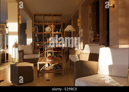 France, Cotes d'Armor, Perros Guirec, the hotel les Costans, lounge - Stock Photo
