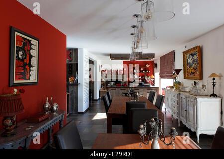 France, Morbihan, Baden, Le Val de Brangon, guest house top of the range, kitchen - Stock Photo
