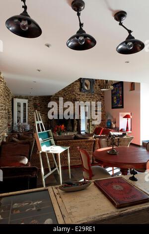 France, Morbihan, Baden, Le Val de Brangon, guest house top of the range, lounge - Stock Photo