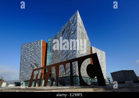 United Kingdom, Northern Ireland, Belfast, docks district of Queen's Island, the Titanic Belfast Experience center - Stock Photo