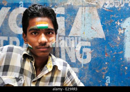 India, Uttar Pradesh State, Varanasi, Indian supporter after winning the World Championship of Cricket in 2011 - Stock Photo