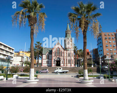 Chile, Arica and Parinacota region, Arica, Colon square and San Marcos church, 1876, made in France in the workshops - Stock Photo
