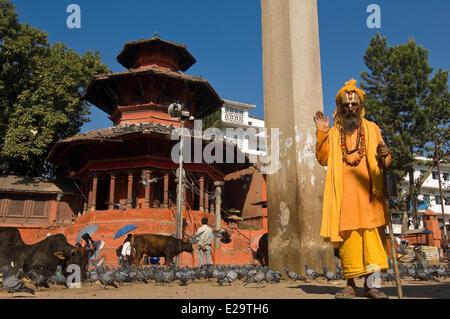 Nepal, Kathmandu Valley, listed World Heritage by UNESCO, Kathmandu, sadhu on Durbar Square - Stock Photo