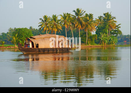 India, Kerala state, Allepey, backwaters, houseboat for tourist - Stock Photo