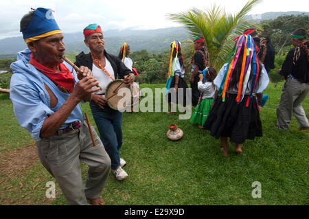 Peru, San Martin province, Lamas, capital of the indigenous people quechua lamista Ritual of the pago to the Pachamama - Stock Photo