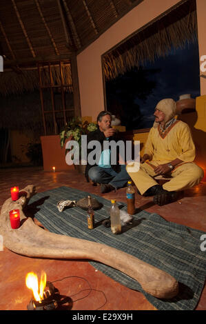 Peru, San Martin province, Lamas, capital of the indigenous people quechua lamistaAyawaska ceremony, a plant with - Stock Photo