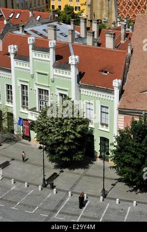 Romania, Transylvania, Carpathian Mountains, Sibiu, the old town, Piata Mica Square - Stock Photo