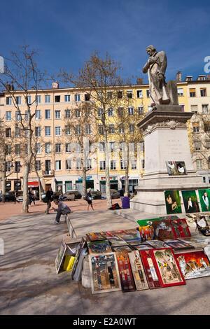 France, Rhone, Lyon, historical site listed as World Heritage by UNESCO, La Croix Rousse District, Place de la Croix - Stock Photo