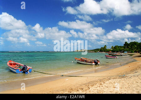 France, Martinique (French West Indies), Tartane, fishing boats on the shore of Tartane - Stock Photo