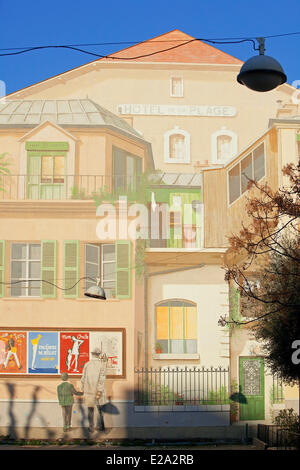 France, Alpes Maritimes, Cannes, Le Suquet Place, Rue St Dizier, Hotel de la Plage mural in memory of the film director - Stock Photo