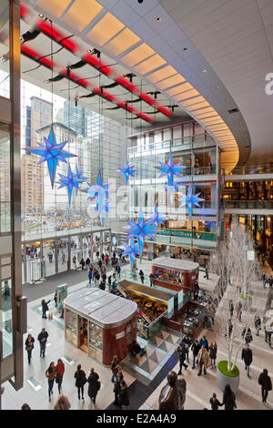 United States, New York, Manhattan, Columbus Circle, the Time Warner Center mall, Christmas decorations - Stock Photo