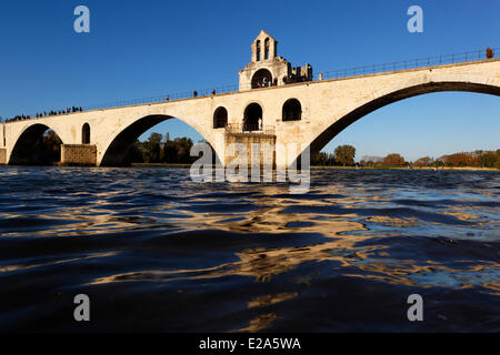 France, Vaucluse, Avignon, bridge of Saint Benezet of the 12th century, listed as World Heritage by UNESCO , and - Stock Photo