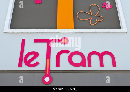 France, Finistere, Brest, the logo of the tramway of Brest - Stock Photo