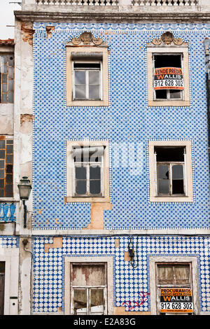 Portugal, Lisbon, Alfama district, facade covered with azulejos - Stock Photo