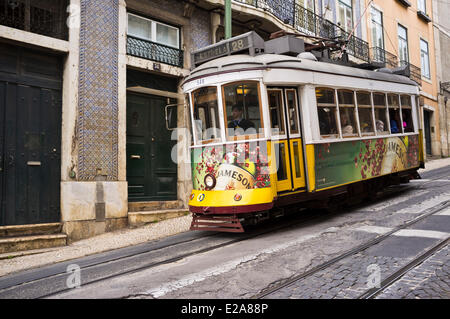 Portugal, Lisbon, the Alfama district, the tramway is the most convenient means of transport - Stock Photo