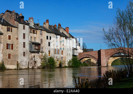 France, Aveyron, Lot Valley, Espalion, stop on the Route of Compostela, listed as World Heritage by UNESCO, Pont - Stock Photo