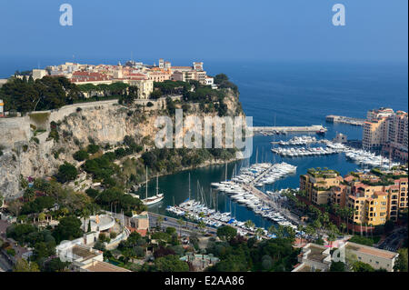 Principality of Monaco, Monaco, royal palace on The Rock and the Fontvieille port - Stock Photo