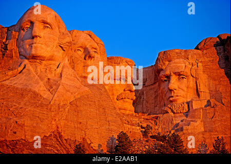 United States, South Dakota, Black Hills area, Mount Rushmore National Memorial, from left to right, former presidents George Stock Photo