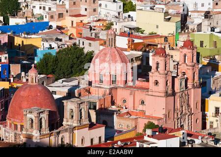 Mexico, Guanajuato state, Guanajuato, listed as World Heritage by UNESCO, the baroque church San Francisco - Stock Photo