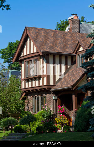 Canada, Quebec Province, Montreal, Westmount, beautiful old half timbered house - Stock Photo