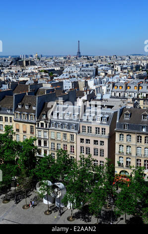 France, Paris, rooftops and the Eiffel Tower in the background seen from the top of Centre Pompidou or Beaubourg, - Stock Photo