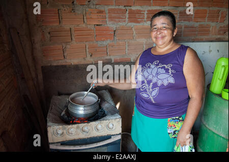 Women's cooperative for the production from the babaçu nut/fruit. Project of the Child welfare organisation, Plan - Stock Photo