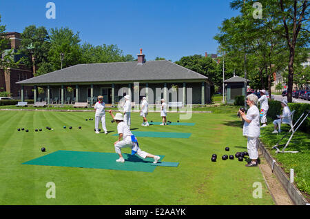 Canada, Quebec Province, Montreal, Westmount, the lawn bowling field - Stock Photo
