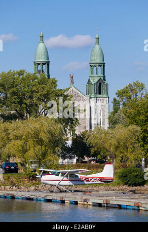 Canada, Quebec Province, Montreal, Lachine, Rene Levesque Park, Church and floatplane - Stock Photo