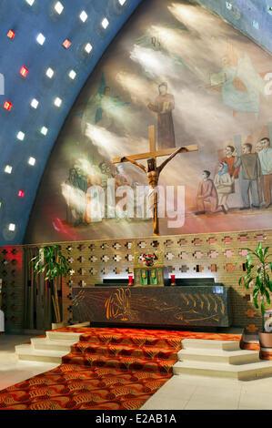 Canada, Quebec Province, Montreal, Saint Michel, the Church of St. Bernardino of Siena, Christ on the Cross - Stock Photo