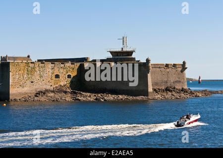 France, Morbihan, Lorient, Port Louis citadel modified by Vauban at the entrance of Lorient harbour - Stock Photo