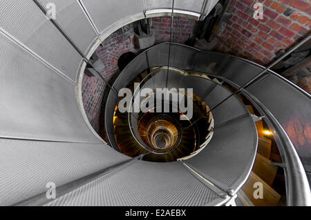 United Kingdom, Scotland, Glasgow, downtown, famous spiral stair in the The Lighthouse, Foundation of Charles Rennie - Stock Photo