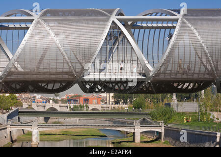 Spain, Madrid, Rio Madrid park along Manzanares river opened in 2011, Monumental Bridge Arganzuela of French architect - Stock Photo