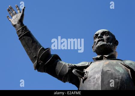 Spain, Madrid, Plaza de Espana (Europe Square), Don Quixote statue built by sculptor Lorenzo Coullaut Valera in - Stock Photo