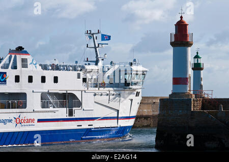 France, Morbihan, Ile de Groix, ferry entering Port Tudy - Stock Photo