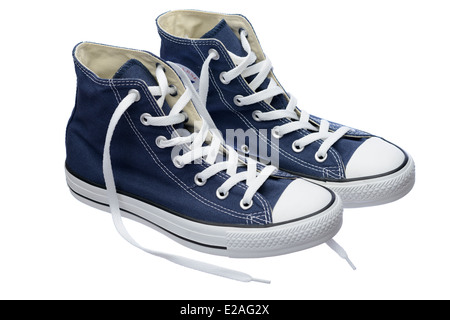 Blue Converse Chuck Taylor All Star shoe pair - Stock Photo