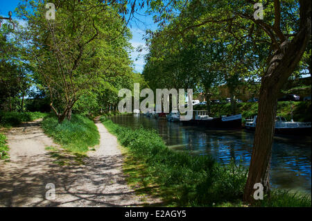 France, Aude, Navigation on the Canal du Midi, listed as World Heritage by UNESCO - Stock Photo