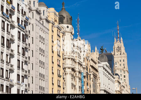 Spain, Madrid, Gran Via, downtown main artery with buildings from the early 20th century, Edificio Telefonica of - Stock Photo