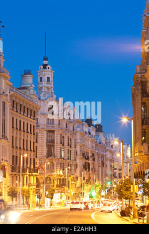 Spain, Madrid, Gran Via, downtown main artery with buildings from the early 20th century - Stock Photo