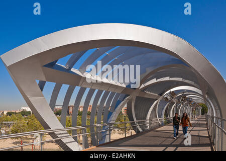 Spain, Madrid, Rio Madrid park along Manzanares river opened in 2011, Monumental Bridge Arganzuela - Stock Photo