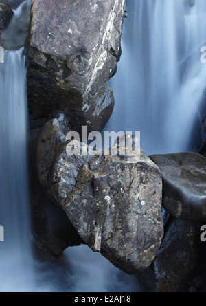 Abstract study from the Fairy pools waterfalls, Glen Brittle, Isle of Skye, Scotland - Stock Photo