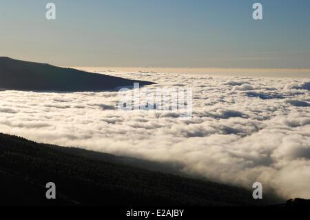 Spain, Canary Islands, Tenerife, mountains road TF 24, Ortuno Mirador, sea of clouds around the volcano Teide - Stock Photo