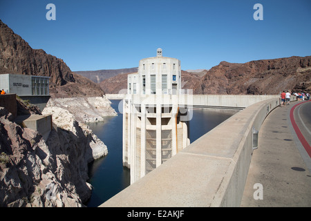Hoover Dam water inlet tower, Colorado River border between the states of Nevada and Arizona, USA, April 2014. - Stock Photo