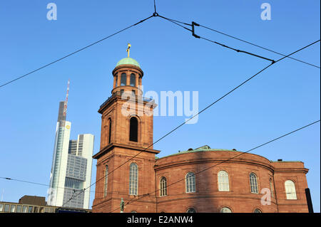 Germany, Hesse, Frankfurt am Main, Paulskirche and Commerzbank tower - Stock Photo