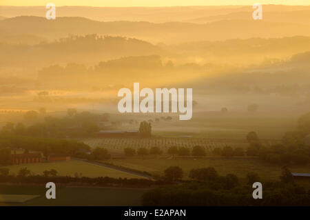 France, Dordogne, morning mist over the countryside (aerial view) - Stock Photo